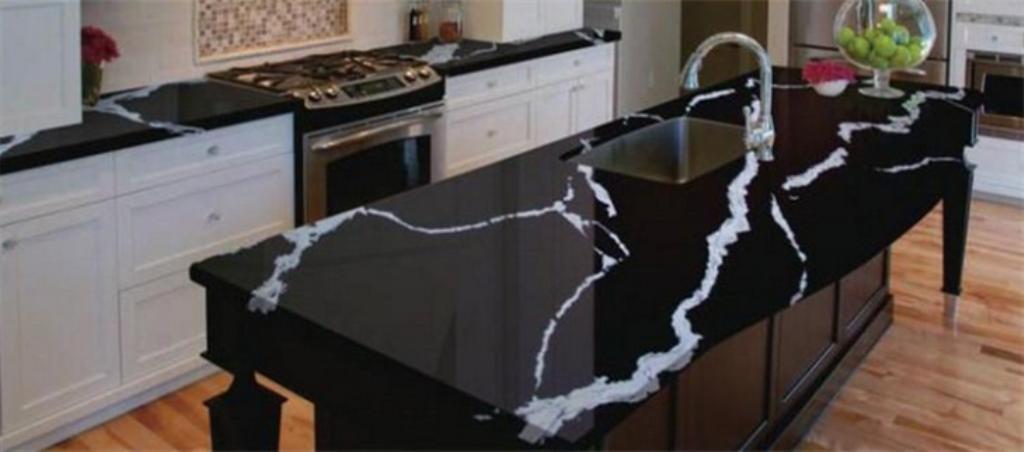 How are black quartz countertops made