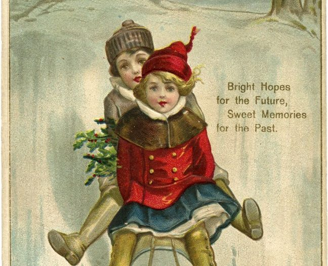 Sledding seems to be a big new year theme on vintage cards