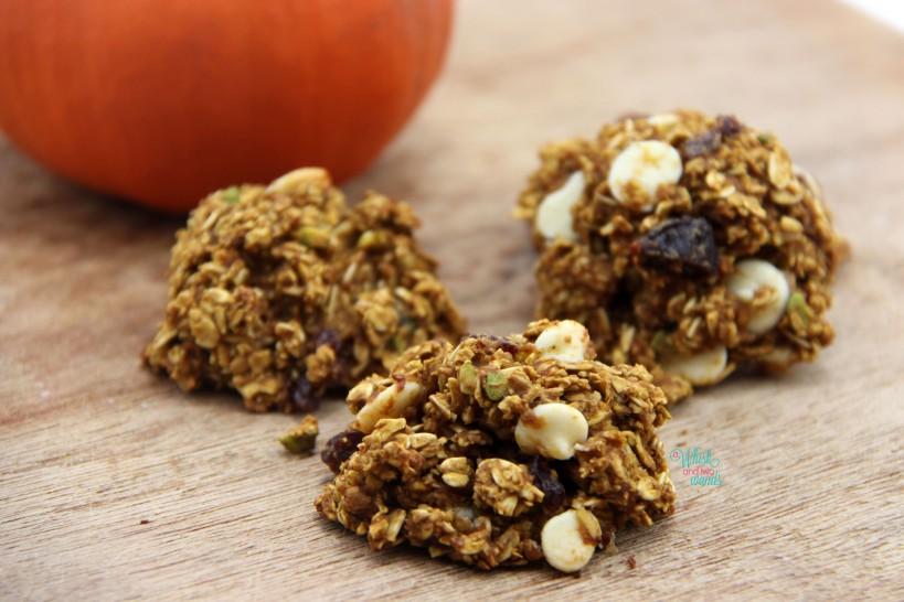 Cherry Pistachio Pumpkin White Chocolate Chip Oatmeal Cookies