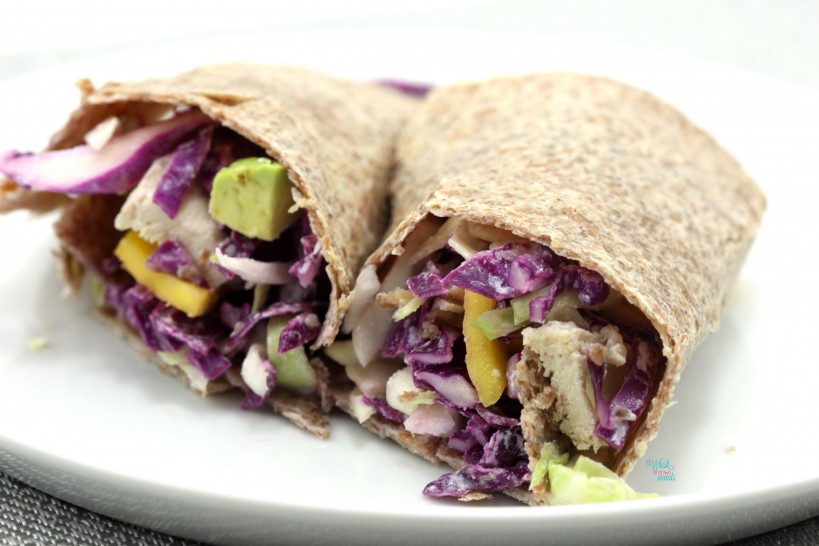 Mango Chicken Coconut Wrap on sprouted tortilla