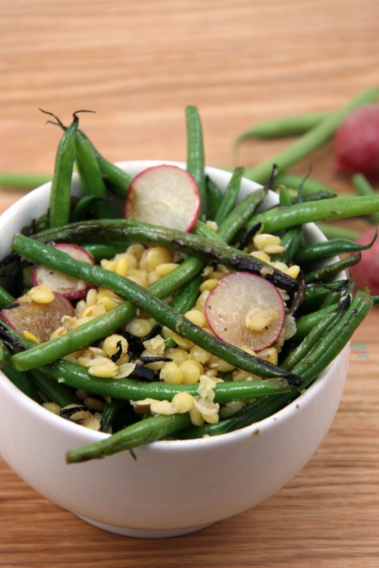 Green Bean and Caramelized Onion Salad with lentils