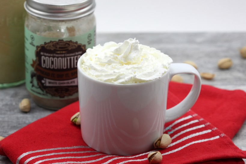 Pistachio Hot Cocoa made with White Chocolate CocoNutter and topped with Coco Whip.