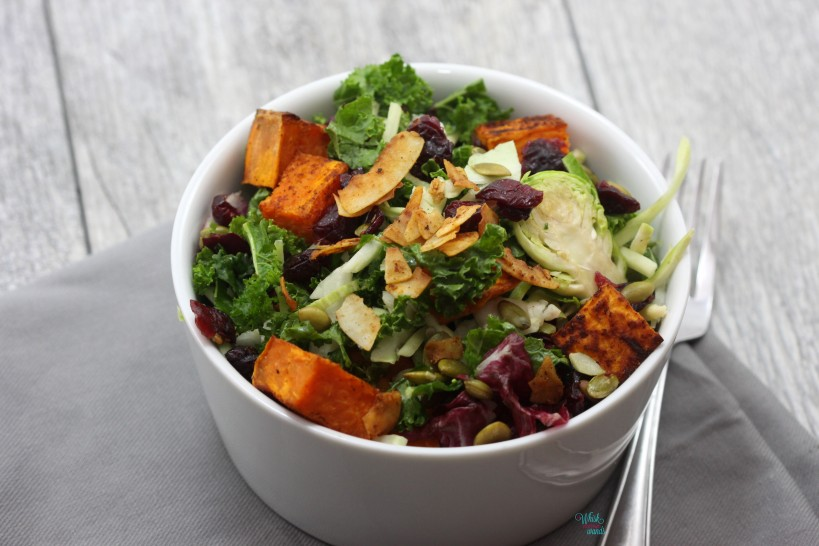 Sweet Potato Kale Superfood Salad with Chipotle Coconut Bacon