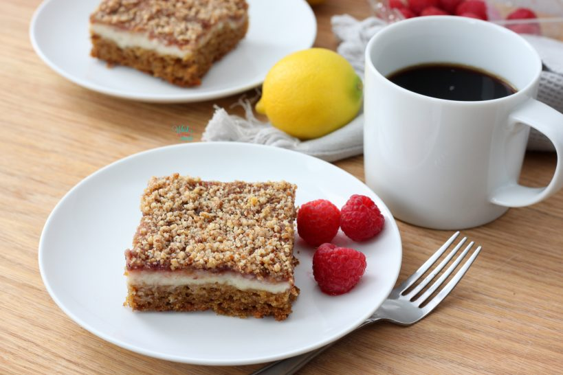 Lemon Raspberry Coffee Cake (vegan and gluten free)