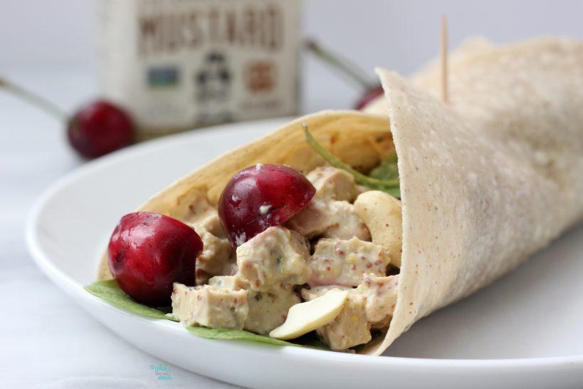 Vegan Cherry Cashew Chicken Salad Wrap (gf brown rice tortilla)