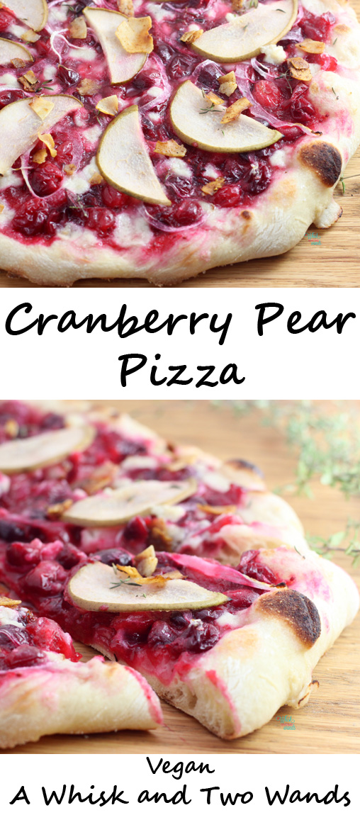 Flavorful fall Neapolitan crust pizza packed with antioxidant rich cranberries, pears, creamy (vegan) mozzarella, and optional coconut bacon!