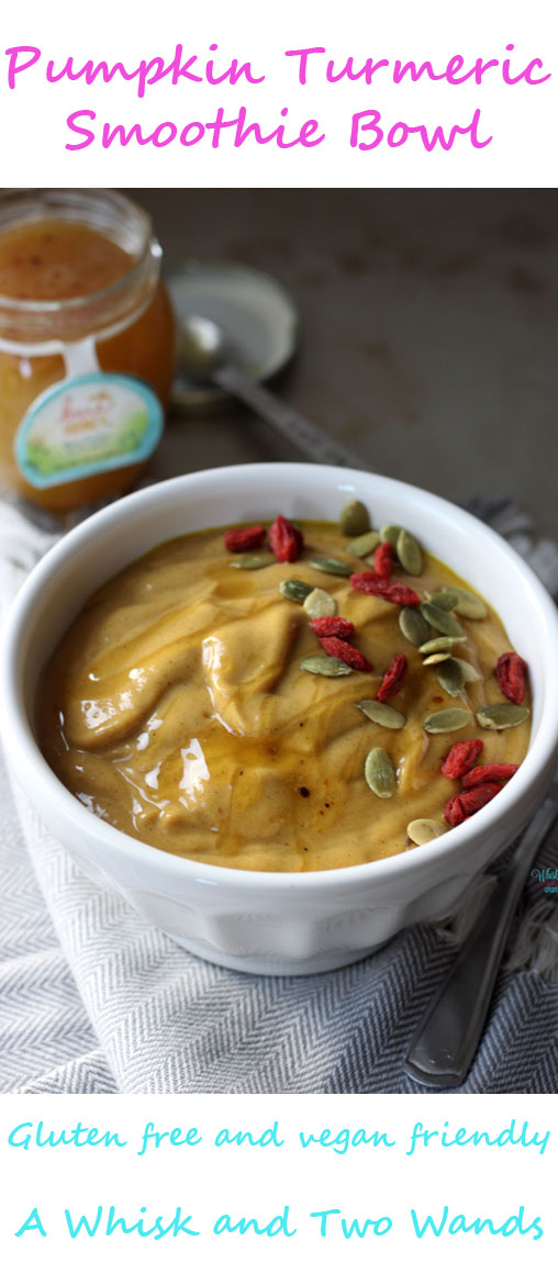 A delicious pumpkin smoothie bowl packed with superfoods to aid in physical recovery and reduce inflamation.