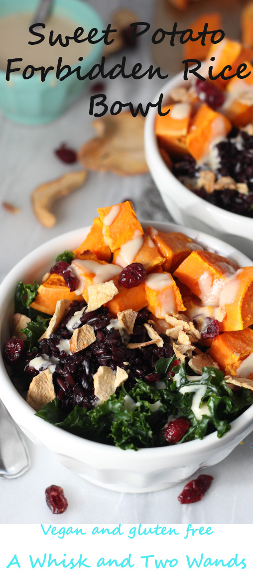 Healthy nutrition packed Buddha rice bowl. Soft silky kale, Forbidden black rice, roasted sweet potatoes, dried cranberries and apples, drizzled with maple tahini dressing! Gluten free, vegan, easy to make ahead, and a quick dinner.