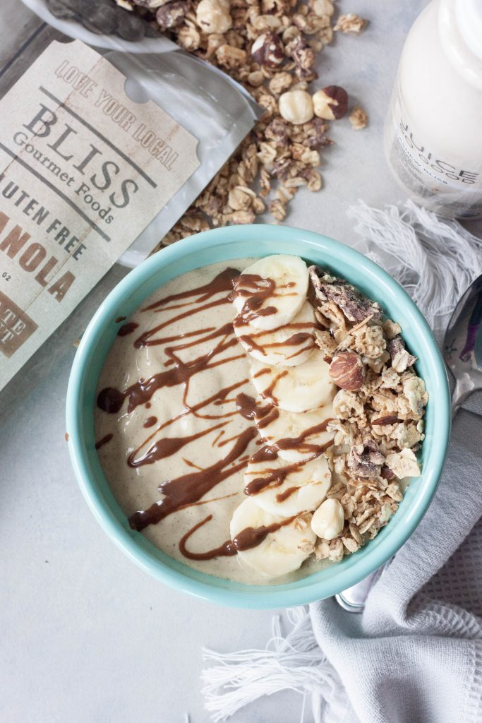 Banana Cream and Nana Latte Chocolate Hazelnut Smoothie Bowl, A Whisk and Two Wands