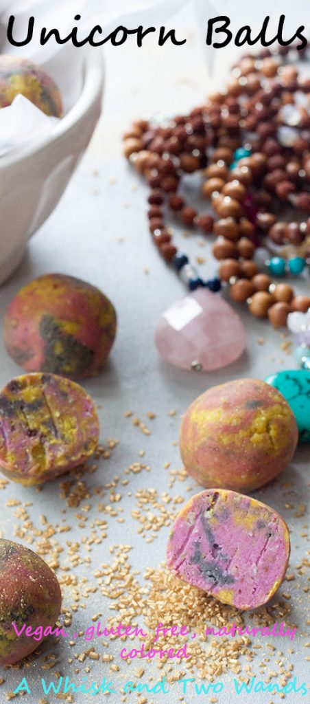 Unicorn balls are healthy, gluten free, vegan balls packed with healthy fats and protein. They're also naturally colored!