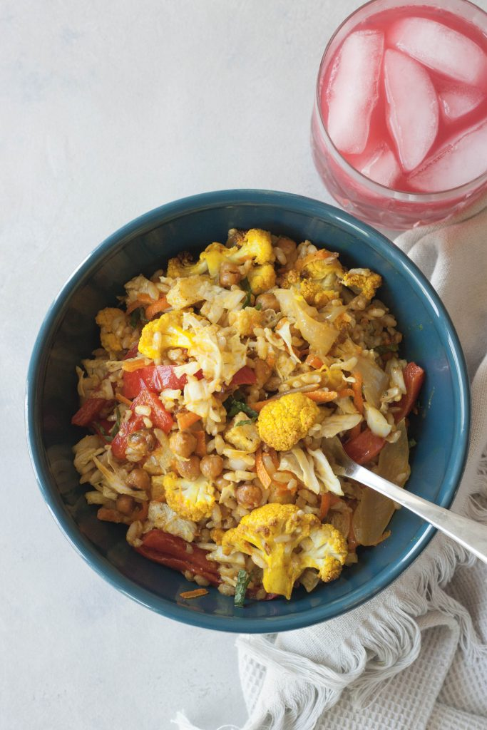 Curry Cauliflower Grain Bowl, A Whisk and Two Wands