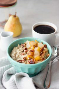 Creamy comforting bowl of Maca Maple Oatmeal will fuel you up for whatever you have planned for the day. Packed with plantbased protein, nutrtion, and superfood boost this simply sweet combination is a great way to start the day. Sauteed pears or camalized bananas with Candied Maple Pecans are favorite topping choices but the options are endless. Gluten free and vegan friendly.