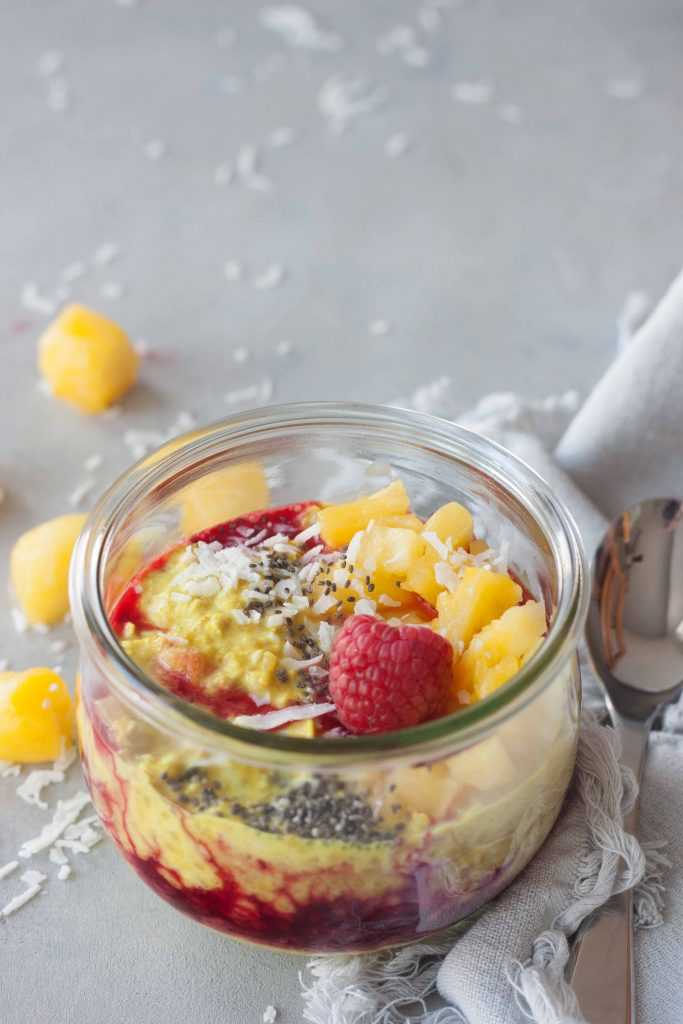Tropical Turmeric Overnight Oats with berries