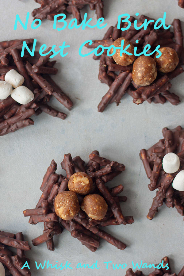 Fun twist on classic No Bake Bird Nest Cookies making them with chocolate, peanut butter, pretzels, adding a little healthy nutrition with chia seeds, and topping with marshmallows or protein bar balls! These Easter, or springtime, cookies are vegan and allergen friendly.
