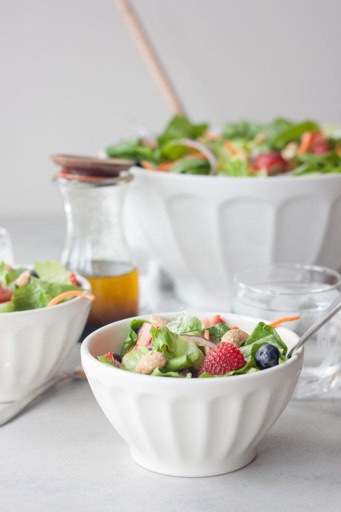 Salad with salad and salad dressing