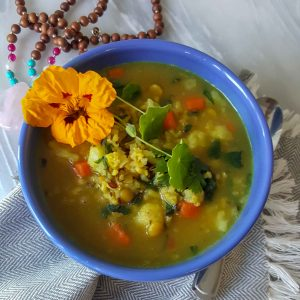 Kitchari with edible flower