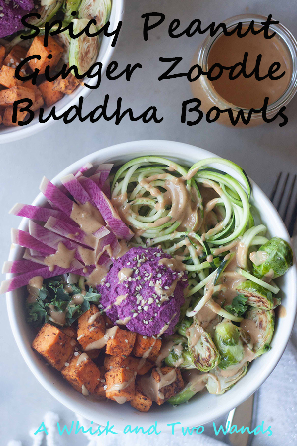 Spicy Peanut Ginger Zoodle Buddha Bowls a flavor, plant-protein, and nutrition packed bowl of zucchini, chipotle roasted sweet potatoes, greens, optional edamame, and more topped with probiotic beet hummus and a peanut ginger sauce. Easy to prep ahead for an easy weeknight dinner or lunch.