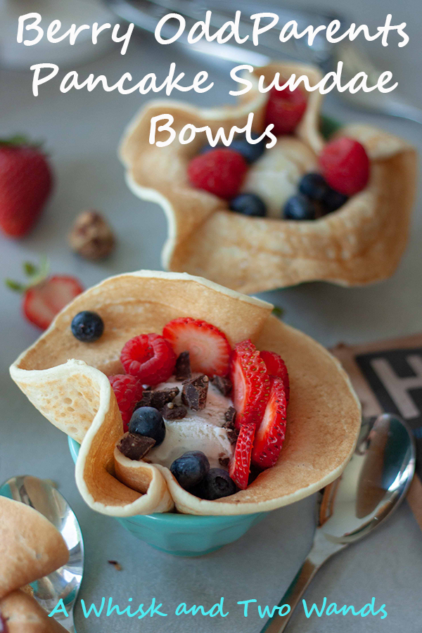 Fun and delicious Berry OddParents Pancake Sundae Bowls are pancake bowls filled with ice cream, berries, and toppings of choice. For breakfast or dessert they hit the spot! Vegan and gluten free friendly.