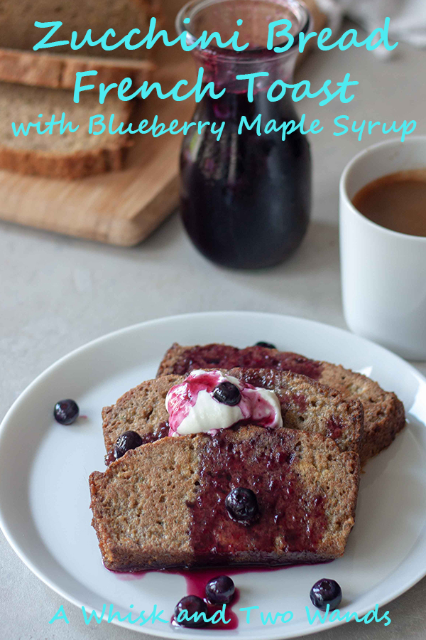 Tis the season for our garden bursting with zucchini and picking big juicy blueberries! Pairing both in this Zucchini Bread French Toast with Blueberry Maple Syrup recipe perfect for a relaxing weekend breakfast or sharing with company for brunch. What better way to use up zucchini and that extra loaf of zucchini bread. Gluten free friendly.