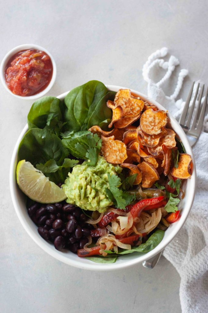 Vegan Cheesy Sweet Potato Nacho Bowls