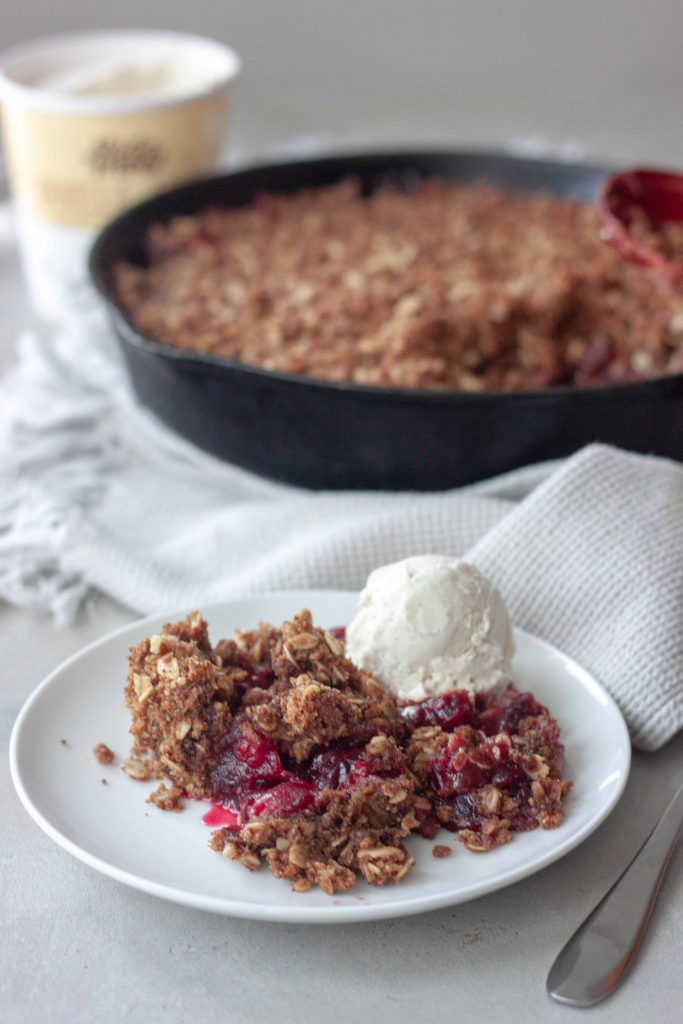 Cast Iron Cranberry Crisp with dairy free ice cream