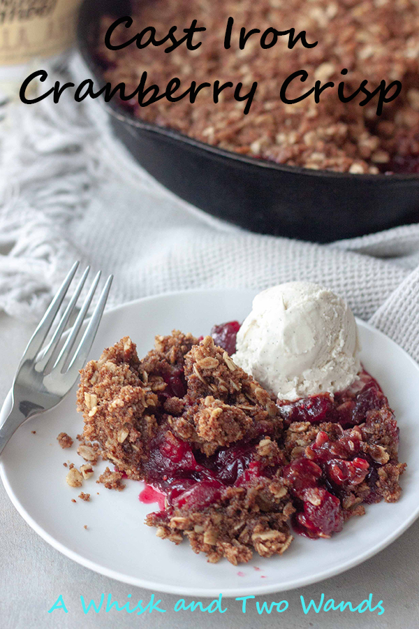 Simple and delicious Cast Iron Cranberry Crisp is the perfect combination of slightly sweetened tart cranberries and crumble topping perfect that will brighten the season. Great for Thanksgiving or Christmas it's easy to make with minimal clean up. Gluten free and vegan friendly.