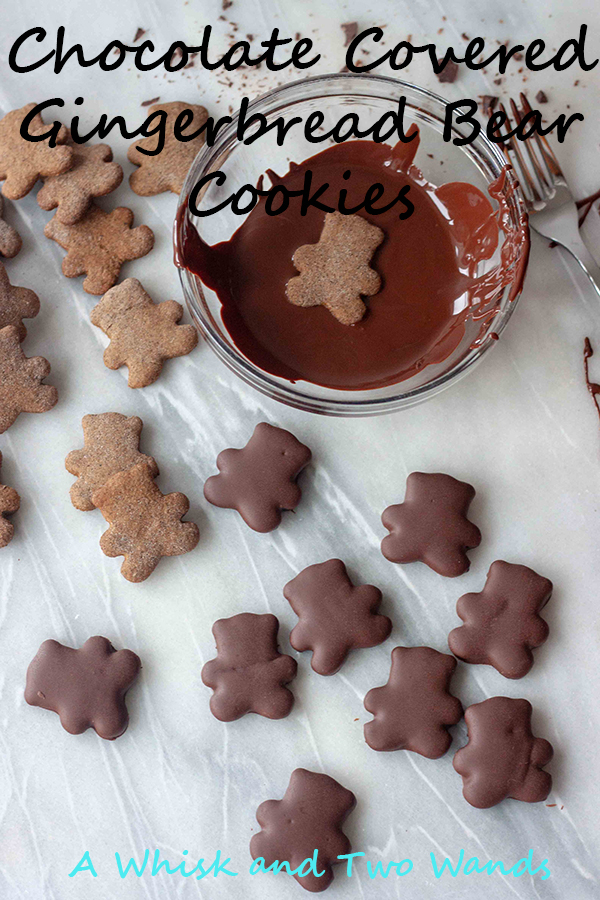Chocolate Covered Gingerbread Bear Cookies are an update on classic gingerbread cookies covering them in chocolate, because everything is better with a little chocolate! These bite size little cookies are perfect for any holiday cookie plate or anytime and little kids love them. Gluten free and vegan friendly.