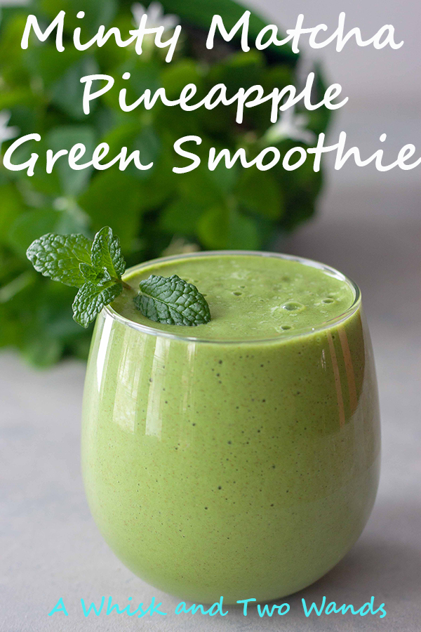 Minty Matcha Pineapple Green Smoothie is a refreshing tropical green smoothie packed with nutrition and a natural boost of energy. A blend of hydrating maple (or sub coconut) water, pineapple, mint, spinach, and chia seeds. Optional protein and collagen boost options this smoothie is dairy free, gluten free, and vegan.