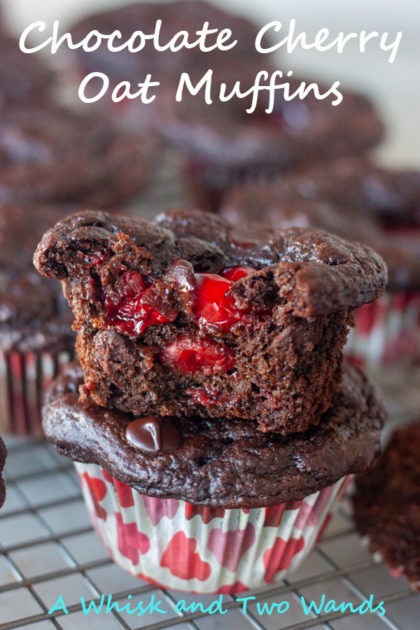 Chocolate Cherry Oat Muffins are delicious light yet fudgey chocolate muffins oozing with cherry goodness! Made with oats and other simple ingredients they're packed with protein, fiber, and antioxidants that will satisfy you! The sweetest way to start any day!