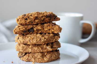 Stack of Oatmeal Raisin Breakfast Cookies with coffee