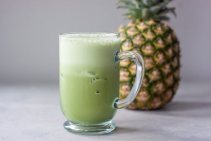 Iced Matcha in Glass with Pineapple