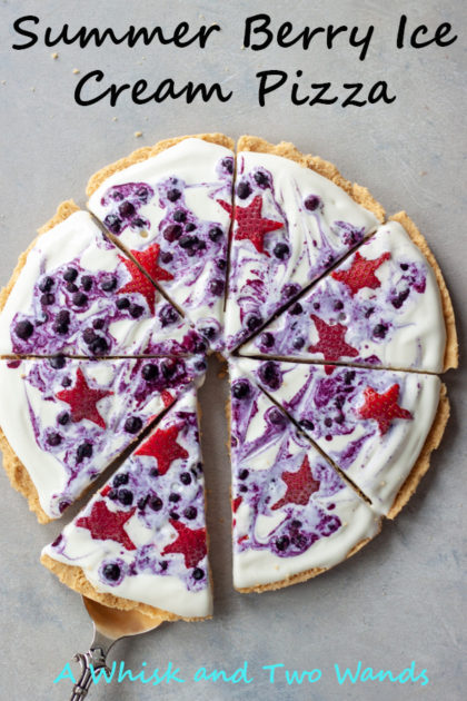 Delicious, fun, and festive Summer Berry Ice Cream Pizza is a simple no bake treat that only takes a handful of ingredients and very little time. It's gluten free and vegan friendly and perfect for your next pizza night, the 4th, or anytime.