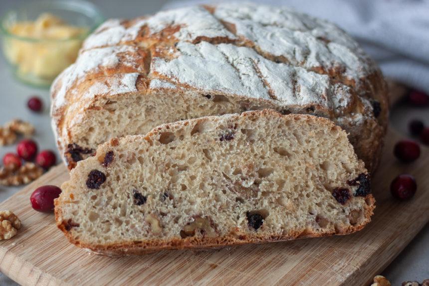 Cranberry Walnut Spelt Sourdough Bread slice