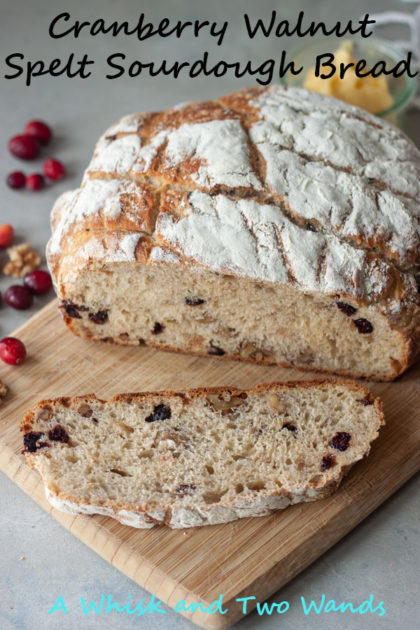 Cranberry Walnut Spelt Sourdough is simply delicious, especially this time of year! Perfect for your Thanksgiving table, or just an average day. I especially love it (usually toasted) topped with honey butter, it doesn't get much better than fresh homemade sourdough!