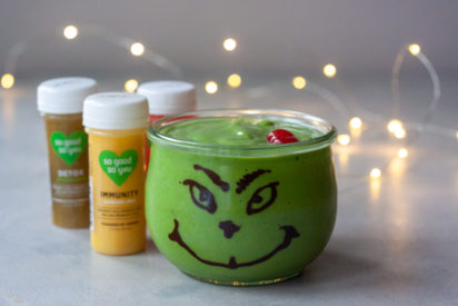 Healthy and delicious a Green Grinch Smoothie is the perfect healthy balance to all the holiday cookies and goodies!