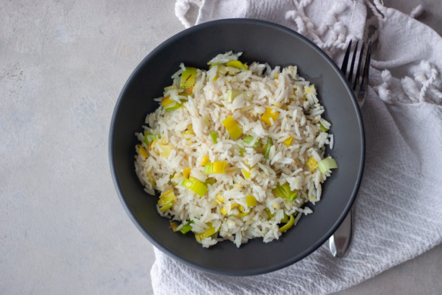 Ginger Garlic Fried Rice in bowl with fork