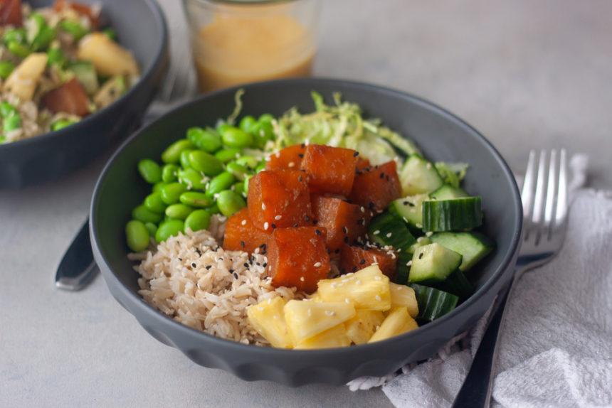 beet poke bowl cucumber, rice, fork