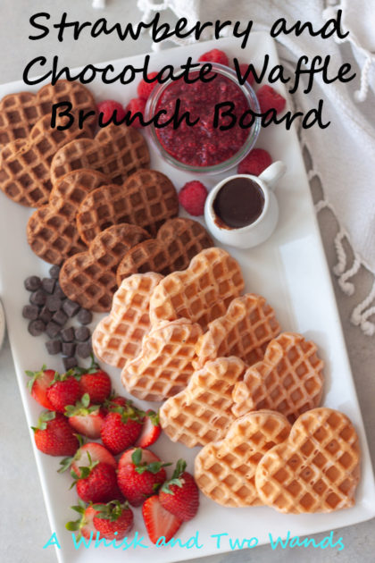 Take brunch to the next level with a Strawberry and Chocolate Waffle Brunch Board! Strawberry and chocolate waffles with an array of your favorite berries, jams, chocolate, whipped cream, yogurt, or topping of choice! Recipes are gluten free and dairy free friendly.