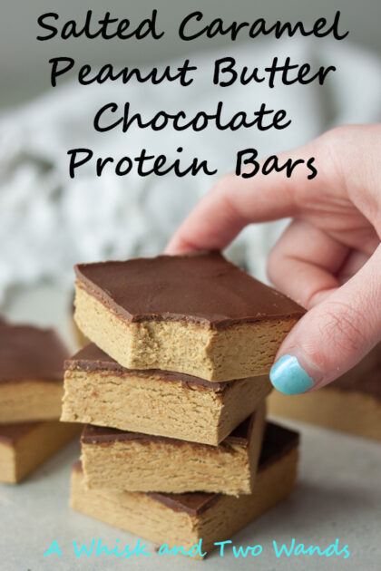 Quick and easy these 4 ingredient Salted Caramel Peanut Butter Chocolate Protein Bars are delicious plant-based bars that are gluten free and vegan friendly bars the whole family will love!