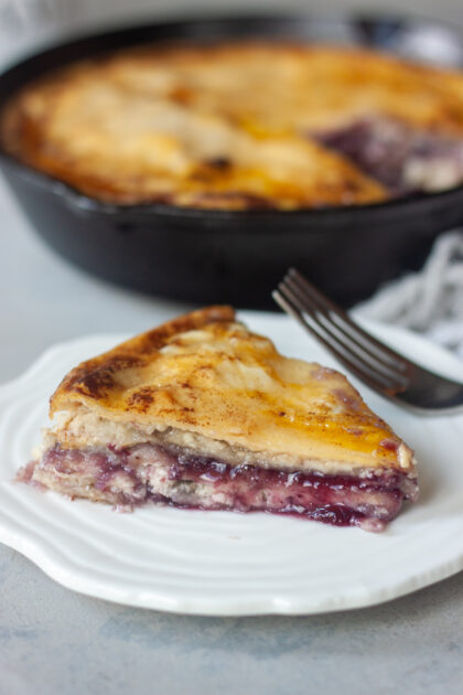 Plate Blueberry Stuffed French Toast Tortilla Skillet fork cast iron pan