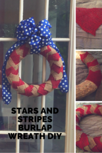Make a stars and stripes burlap wreath. Step-by-step DIY.