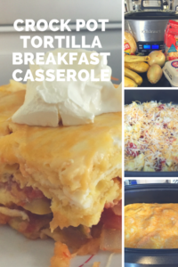 Crock Pot tortilla breakfast casserole with squash and corn tortillas