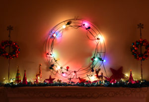 Mantel decor for modern, quirky home at Christmas