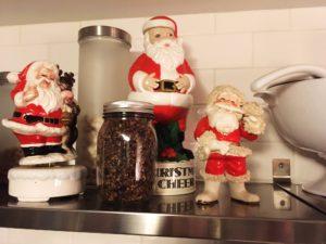 vintage santa figurines liquor bottle