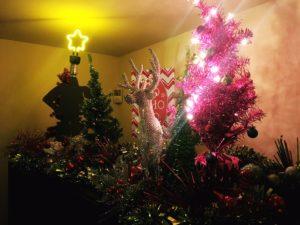Christmas display reindeer tree