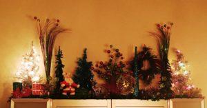 Christmas display trees Santa star topper garland