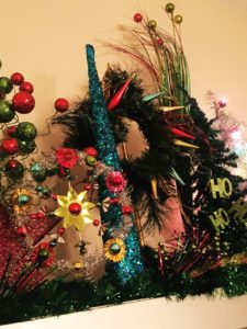 Christmas display mantel tree wreath star topper garland spray