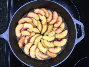 peach upside-down cake skillet brown sugar