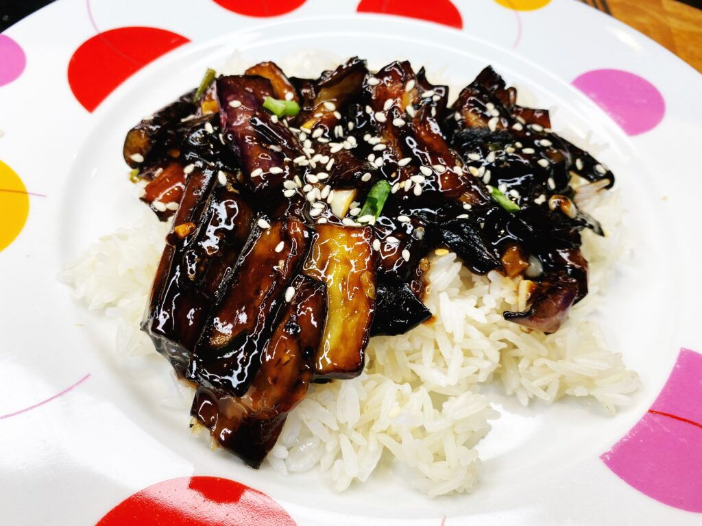 Sesame garlic eggplant plated