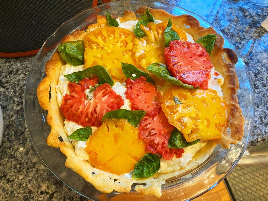 tomato-eggplant ricotta tart